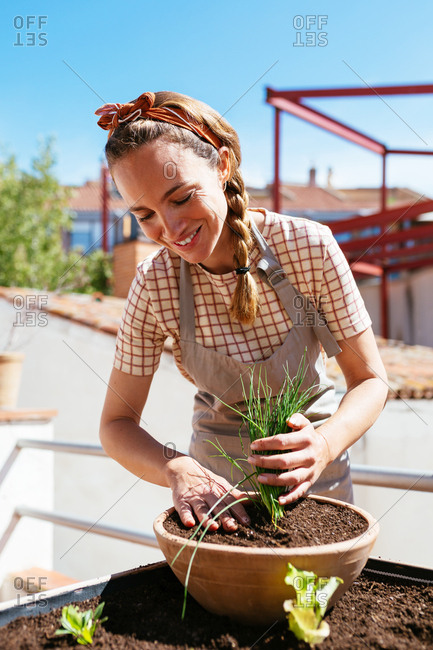 Caucasian woman planting in an urban garden of a rooftop.