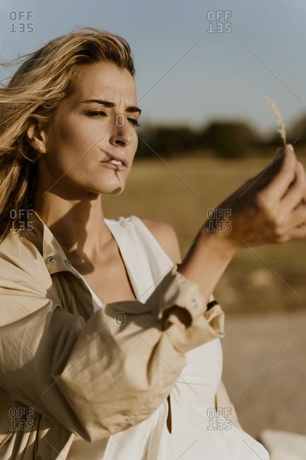 Female traveller looking on blade