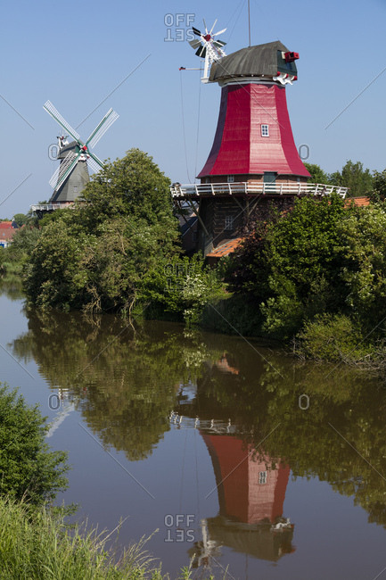 Germany- Lower Saxony- Greetsiel- traditional windmills