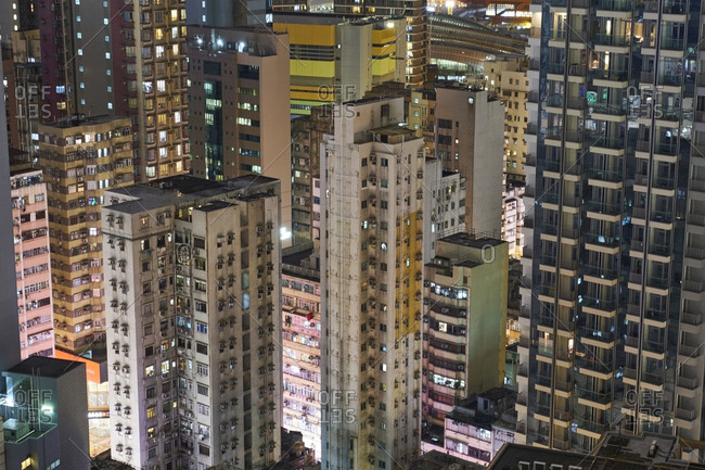 January 8, 2018: Lighted apartment towers- Kowloon- Hong Kong- China
