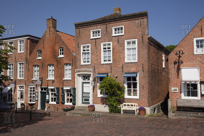 May 27, 2018: Germany- Lower Saxony- Greetsiel- old town- brick houses