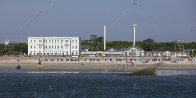 May 27, 2018: Germany- Lower Saxony- East Frisia- Norderney- West beach and Haus am Weststrand