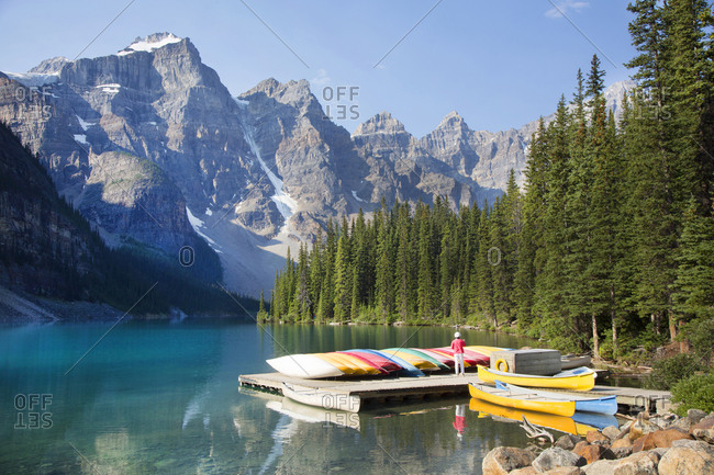 Rental canoes at Moraine Lake in Banff National Park