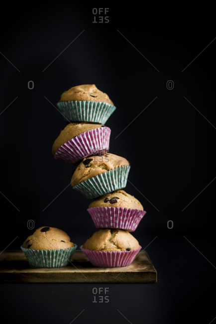 Tower of chocolate chips muffins