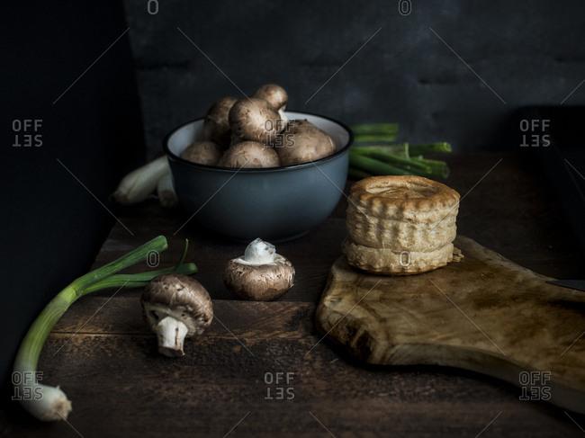 Preparing to make leek and mushroom vol au vent