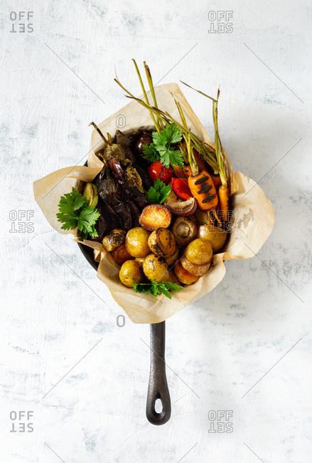 Dinner meal vegetarian of various fried vegetables