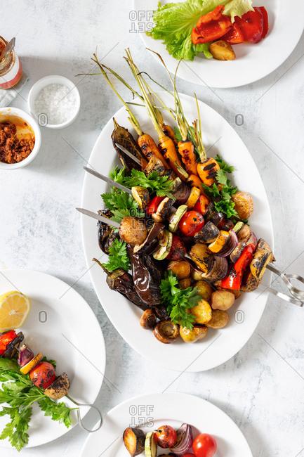 Dinner meal vegetarian of vegetable shish kebab