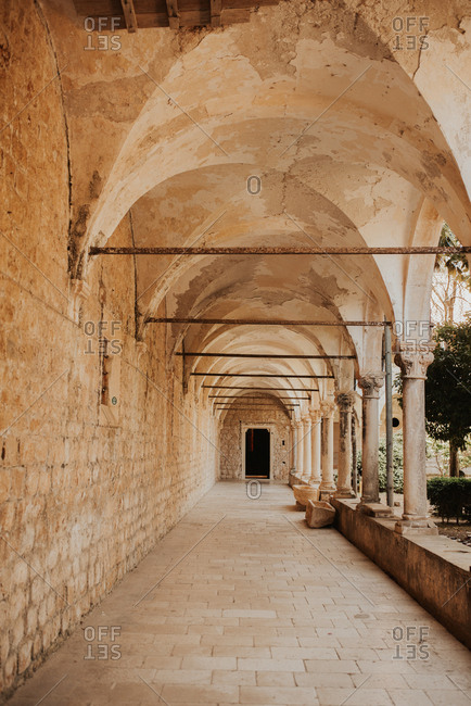 Colonnade at the Benedictine Monastery Of St Mary, Dubrovnik, Croatia