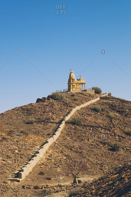 Small temple atop a hill in the Thar Desert in India