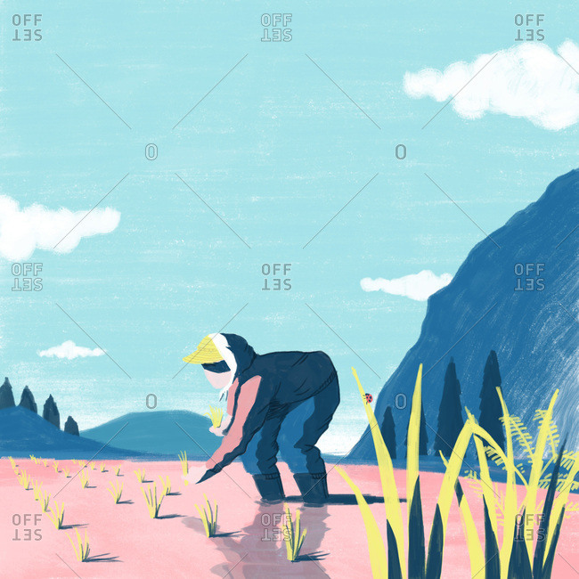 Illustration of woman gardening in a valley