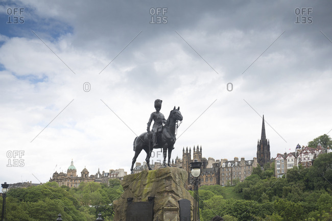 The Royal Scots Greys Monument on Prince's street in Edinburgh, Scotland