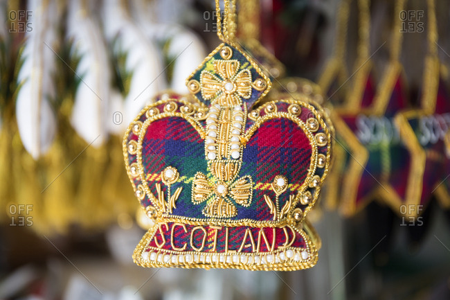 Ornaments in a Royal Mile souvenir shop, Edinburgh, Scotland