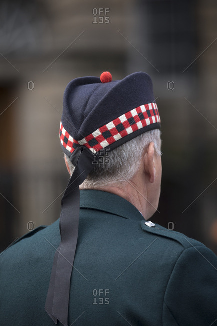 Military veteran dressed for church in Edinburgh, Scotland
