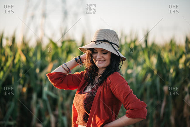 Pretty young countrygirl smiling