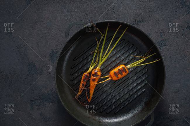 Carrots cooked in a grill pan top view