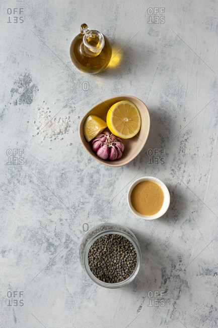 Raw ingredients for cooking green lentil hummus