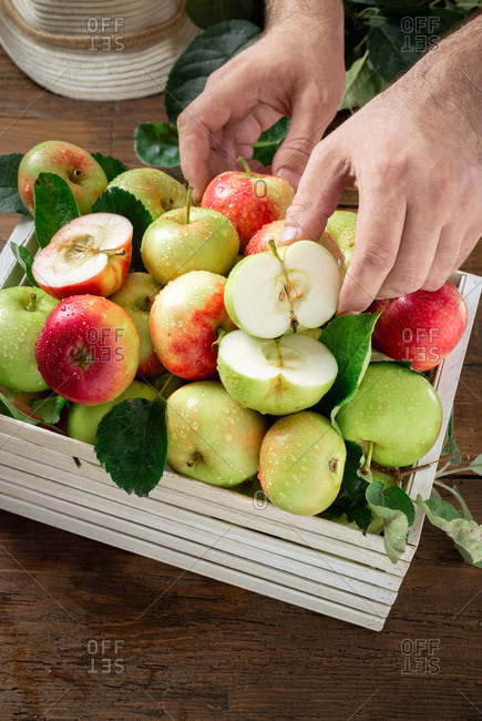 Wooden box with full of different apples
