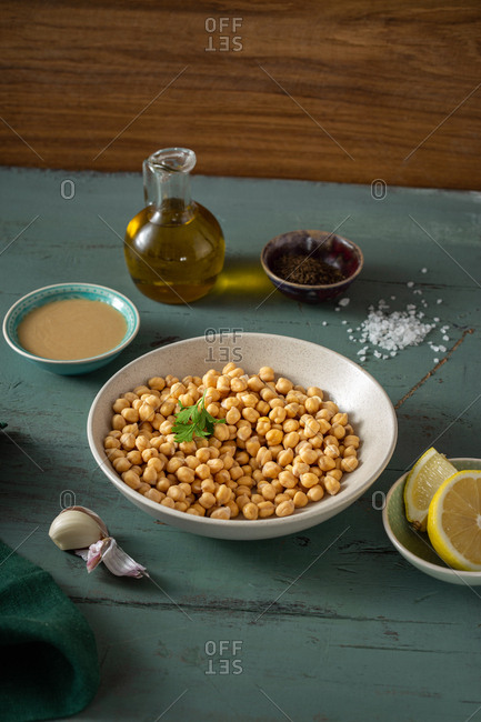 Set of raw ingredients for cooking classic chickpea hummus