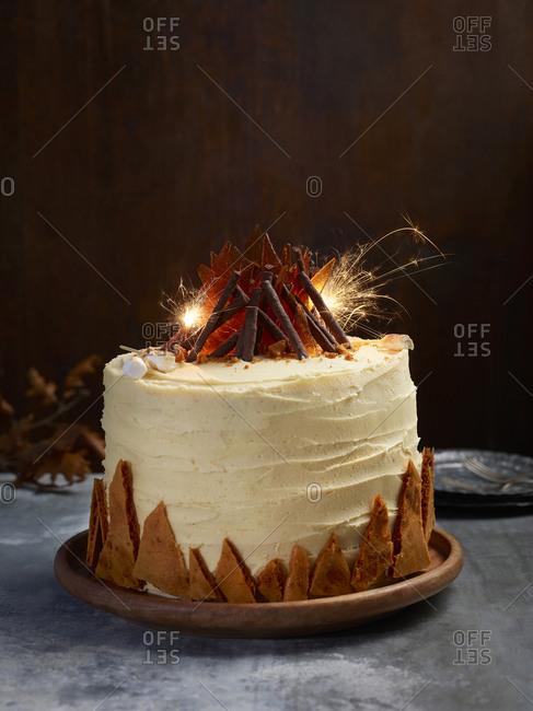 Ginger and caramel bonfire night cake