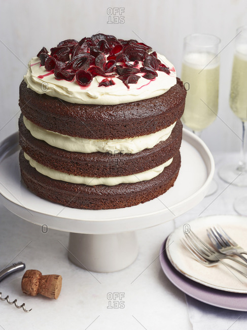 3 layers of chocolate, cream and beetroot cake for a celebration