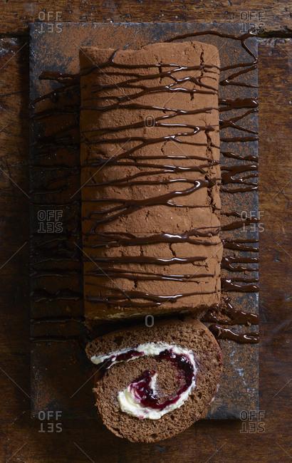 Chocolate, raspberry and cream swiss roll