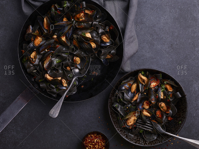 Squid ink pasta with mussels