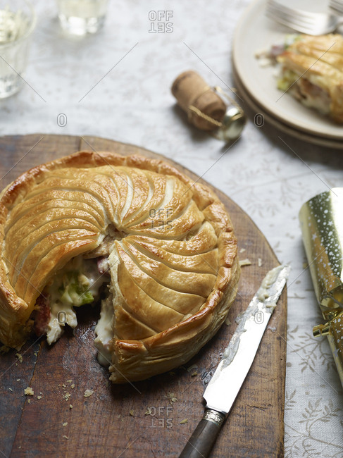 Creamy xmas leftover turkey, leek and bacon pie