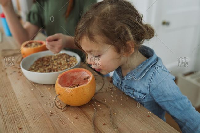 Girls making a birdfeeder with a grapefruit