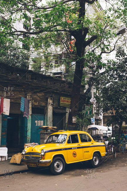 Kolkata, West Bengal, India - March 6, 2019: Taxi parked on street side