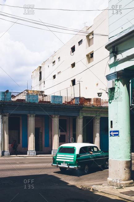 Havana, Cuba - July 28, 2019: Car driving through open street