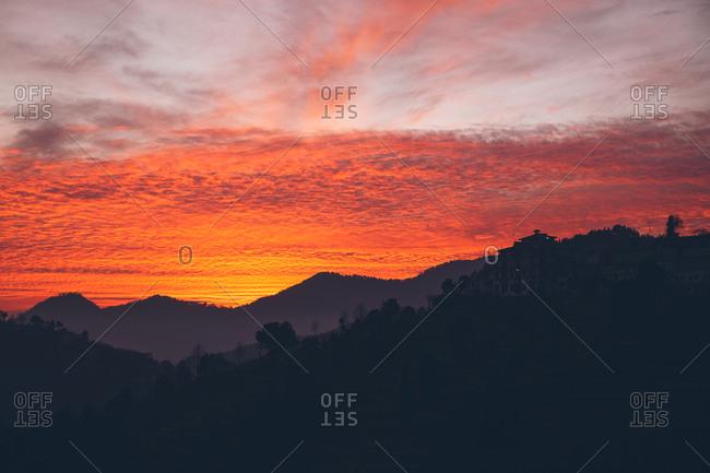 Sunset over Himalayan mountains