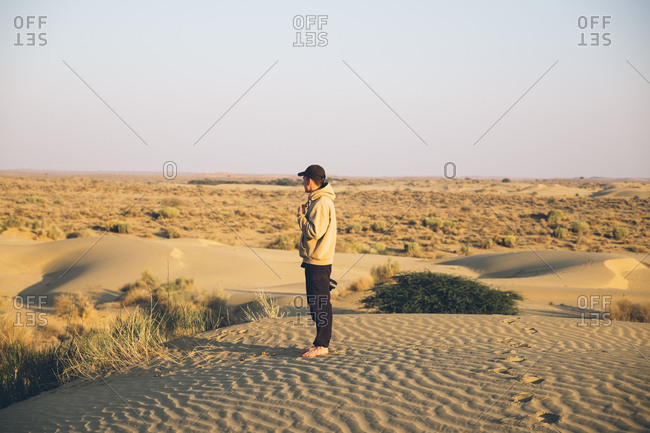 Man looking out to the desert in India