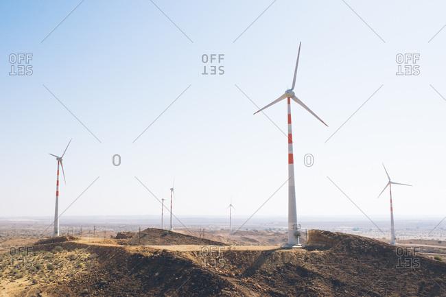 Wind turbines in the Thar Desert, India