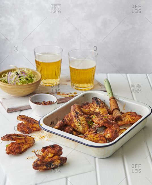 Beer and chicken wings