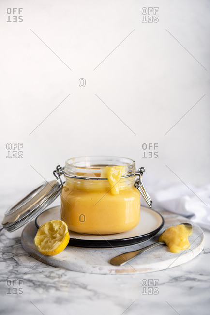 Home made lemon curd in a jar