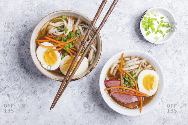 Bowls of ramen soup with egg and meat (Japan)