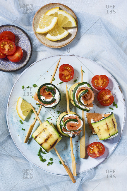 Eggplant and zucchini rolls with smoked salmon