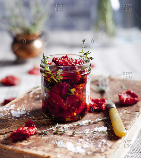 Sun dried tomatoes with herbs and sea salt in olive oil