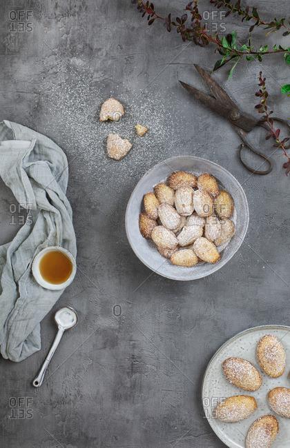 Honey madeleines with powdered sugar