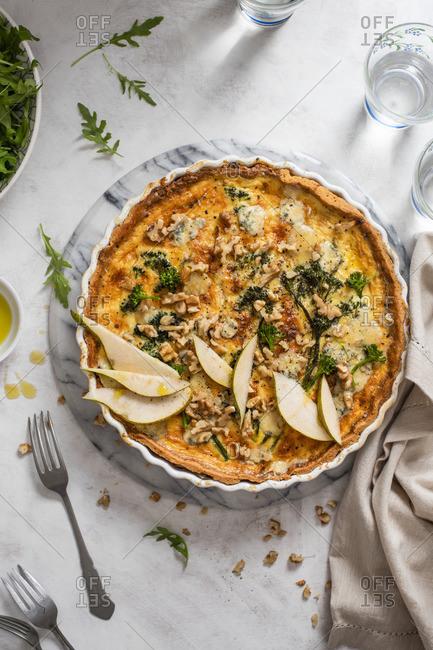 Blue cheese, broccoli, pear and walnut quiche
