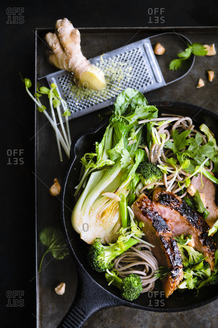 Roasted duck breast with soba noodles, vegetables, cilantro and peanuts in a cast-iron pan