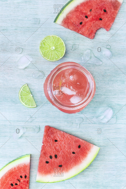Glass jar filled with tasty watermelon drink