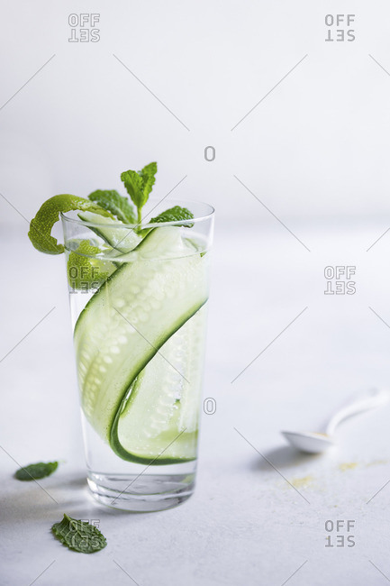 Gin and tonic with cucumber and mint
