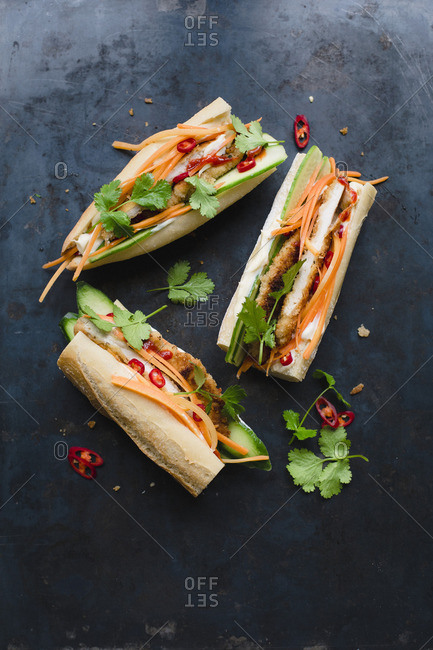Banh Mi sandwich with breaded chicken escalope