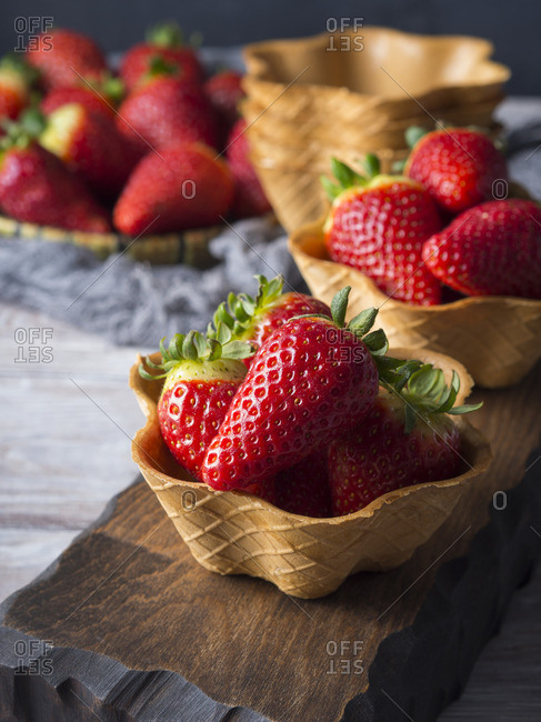 Strawberries in waffle cups