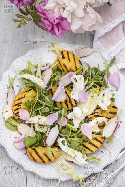Salad with water cress, grilled peaches, mozzarella and a rose dressing