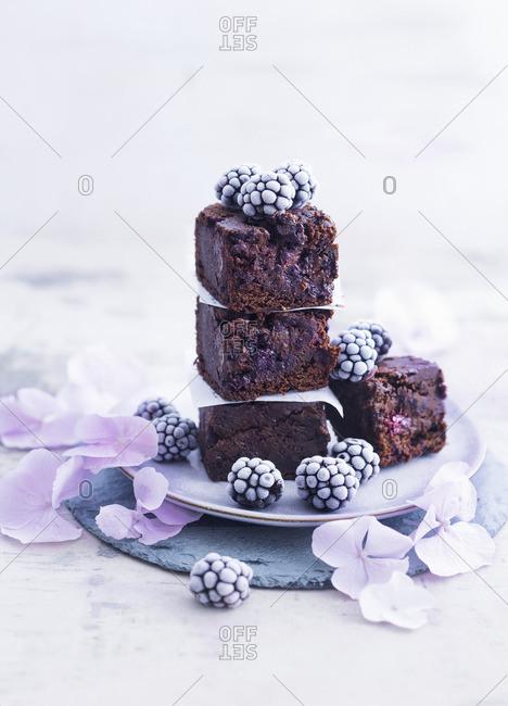Blackberry brownies with frozen blackberries