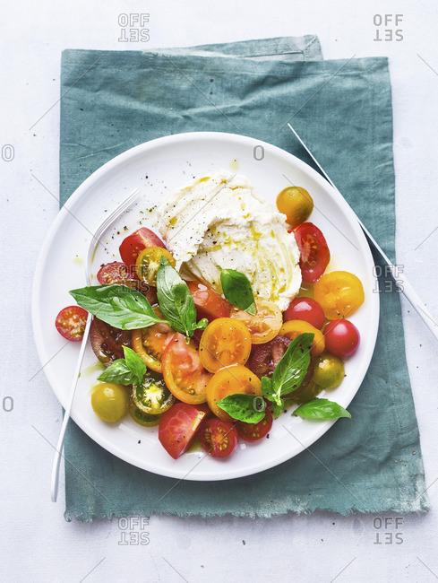 Salad with various tomatoes, mozarella and basil