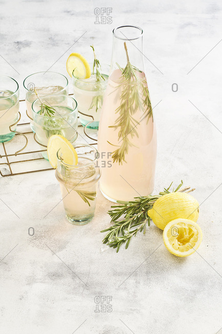 Pink lemonade with lemon and rosemary