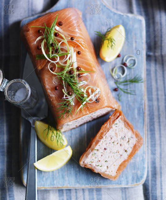 Smoked salmon terrine with capers, dill and lemon